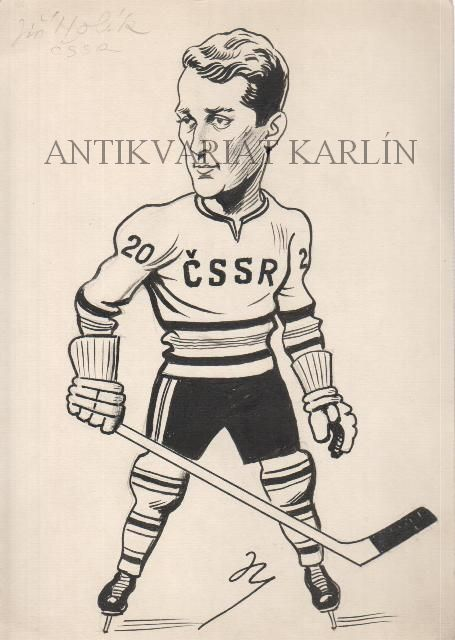 Jiří Holík ČSSR, Hockey  - Original Artwork, Drawing in Indian Ink (140218)