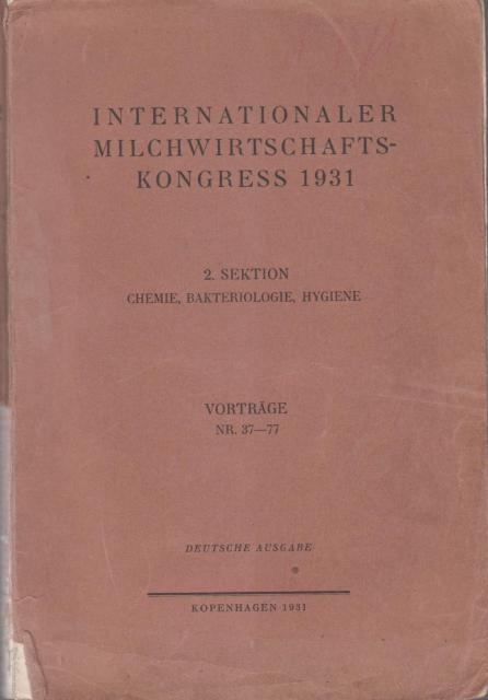 Internationaler milchwirtschafts - kongress 1931