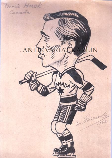 Francis Huck, Hockey, Canada, Original Artwork, Drawing in Indian ink